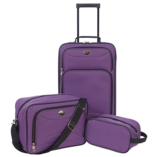 Jetstream 3 Piece Luggage Set with Toiletry Kit Purple