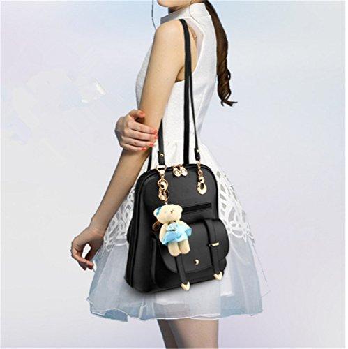 Shoulder Bag Cute Student Summer Leather Women's Korean Backpack Hynbase Black Bag CwB86qnz