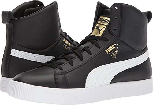 Puma Clyde - PUMA Clyde Mid Core Foil Mens White Leather High Top Lace up Sneakers Shoes 10