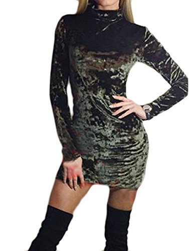 Sleeve Womens Green Cromoncent Dress Neck Bodycon Long High Mini Solid Velvet Army Color UEwfBqxdw7