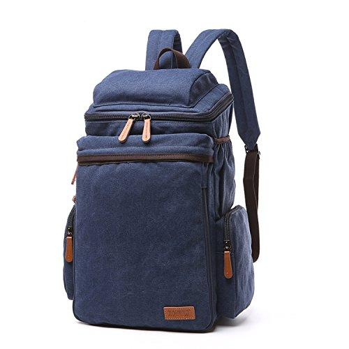 Outreo Backpack Weekender Rucksack Herren Schulrucksack Vintage Rucksäcke Outdoor Sporttasche Sportrucksack Reiserucksack Schultaschen Schul Freitag Tasche für Uni Canvas Daypack Blau