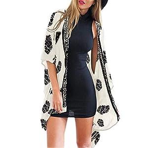 Camisunny Women Kimono Cardigan Floral Printed Casual Loose Beachwear Cover ups Tops