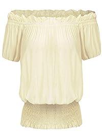 Womens Off Shoulder Vintage Peasant Blouse Ruffle Smocked Waist Boho Tops T Shirts