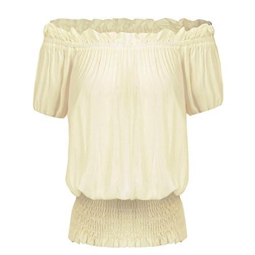 Nice ELESOL Women Off Shoulder Vintage Peasant Blouse Ruffle Smocked Waist Boho Tops T Shirts free shipping