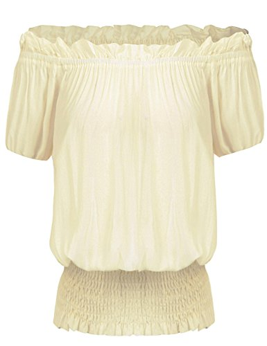 Women Strapless Off Shoulder Renaissance Peasant Wench Blouse Shirt Beige/XL