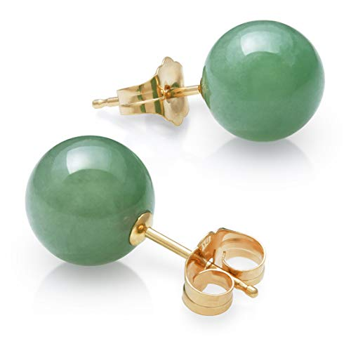 - 14K Yellow Gold Natural Green Jade Round Stud Earrings (8mm)