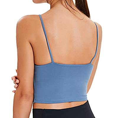 Lavento Women's Longline Sports Bra Yoga Camisole Crop Top with Built in Bra at Women's Clothing store