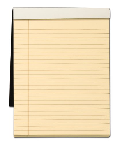 TOPS Docket Gold Writing Tablet with Privacy Cover, 8-1/2 x 11-3/4 Inches, Perforated, Ivory, Legal/Wide Rule, 70 Sheets per Pad (99713)
