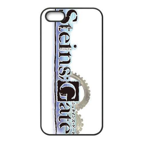 Steins Gate coque iPhone 5 5s cellulaire cas coque de téléphone cas téléphone cellulaire noir couvercle EEECBCAAN01694