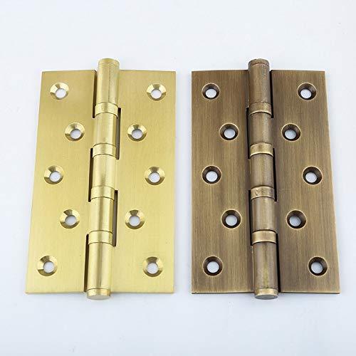 4PCS Brass Furniture Hinges Wooden Furniture Cupboard Wardrobe Cabinet Door Hinges+Screws 4Inch/5Inch/6Inch - (Color: 6Inch Brass Color)