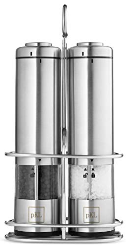 (Pro Kitchen Life Battery Operated Salt and Pepper Grinder Set - Pack of 2 Mills - Durable Stainless Steel with Holder Tray - Adjustable Ceramic Coarseness with LED Light and Caps at Bottom)