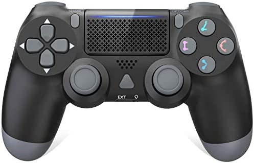 Controller for PS4, Wireless Controller for Plays 4/Pro/Slim Console, Gamepad Joystick Game Controller with Dual Vibration/6-axis Gyro Sensor/Audio Function/1000mAh, Not OEM (Black)