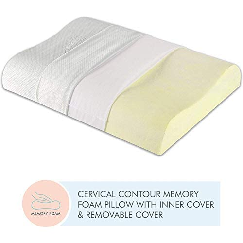 LD The White Willow Cervical Orthopedic Memory Foam King Size Contour Neck Support Sleeping Bed Pillow with Removable Cover