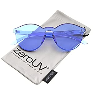zeroUV - One Piece PC Lens Rimless Ultra-Bold Colorful Mono Block Sunglasses 60mm (Blue)