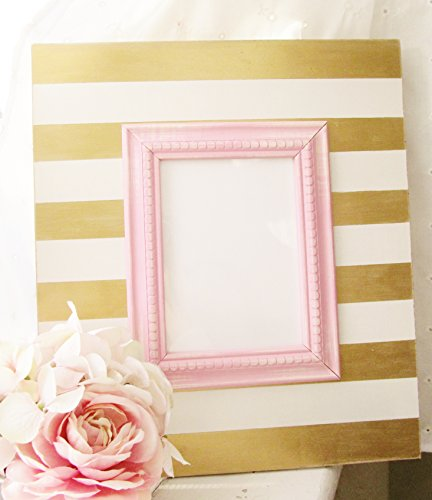 Shabby Chic Picture Frame in Gold and White Stripes with Pin