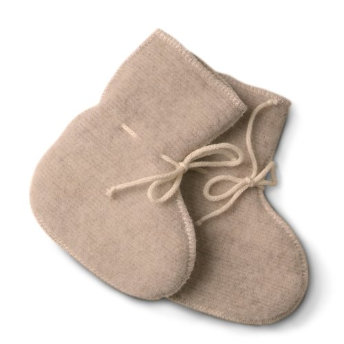 LANACARE Baby Booties in Organic Wool, Soft Sand, size 50 (0-3 mo)