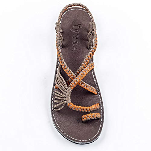 - Plaka Flat Summer Sandals for Women Orange Gray 10 Palm Leaf