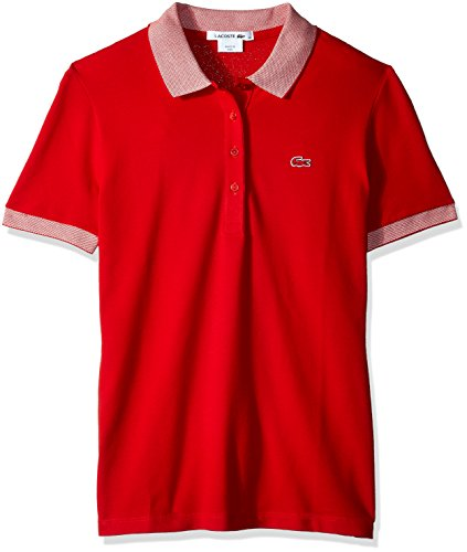 Lacoste Womens Apparel - Lacoste Women's Short Sleeve Caviar Contrast Collar Polo, Red/White, 10