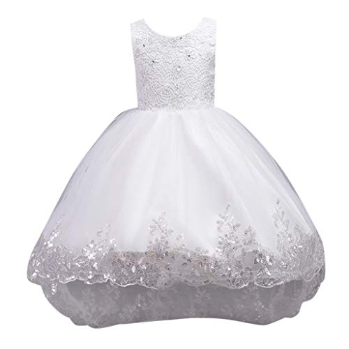 (Swiusd 0-10Y Child Kid Baby Girls Sleeveless Floral Embroidered Bow Tulle Dresses Canonicals Elegant Rhinestone Full Formal Dresses (White, 5-6 Years))