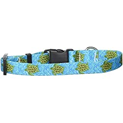 """Yellow Dog Design Sea Turtles Dog Collar with Tag-A-Long ID Tag System-Small-3/4 Wide and fits Neck 10 to 14"""""""