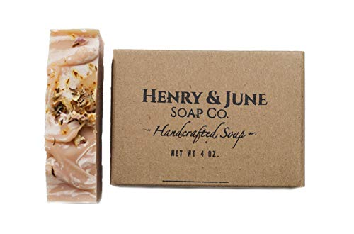 Rose Clay Handmade Bar Soap, 100% Natural & Organic Ingredients, With Pink Kaolin Clay & Scented with Essential Oils. Skincare Handmade in USA. By Henry & June Soap Co. 4 oz