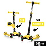 low deck designs Lascoota 2-in-1 Kick Scooter with Removable Seat Great for Kids & Toddlers Girls or Boys – Adjustable Height w/Extra-Wide Deck PU Flashing Wheels for Children from 2 to 14 Year-Old (Yellow)