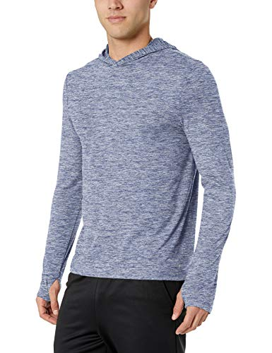 Amazon Essentials Men's Tech Stretch Long-Sleeve Performance Pullover Hoodie, Dark Blue Space dye, Medium ()