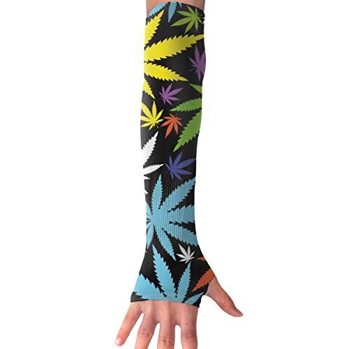MASDUIH Colored Cannabis Leaf Gloves Anti-uv Sun Protection Long Fingerless Arm Cooling Sleeve