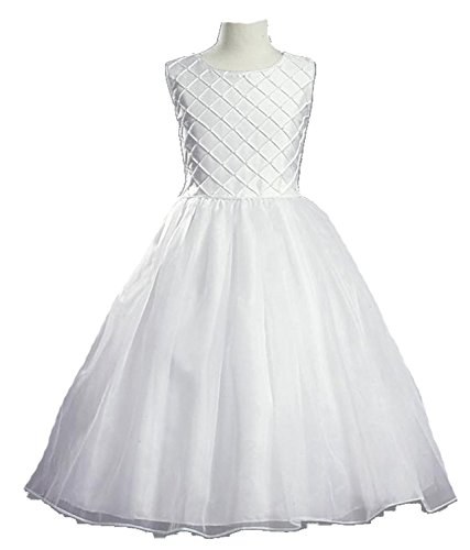 White Shantung Communion Dress with Tucked Bodice and Pearl Accents - Size 7 for $<!--$85.98-->