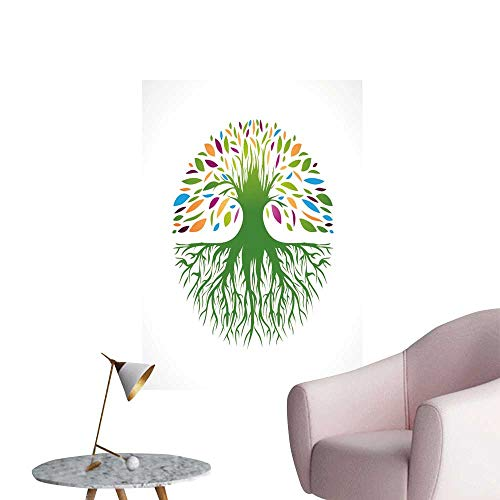 (SeptSonne Wall Stickers for Living Room Multicolore Roun Vitality Tree Logo Design Vinyl Wall Stickers Print,20