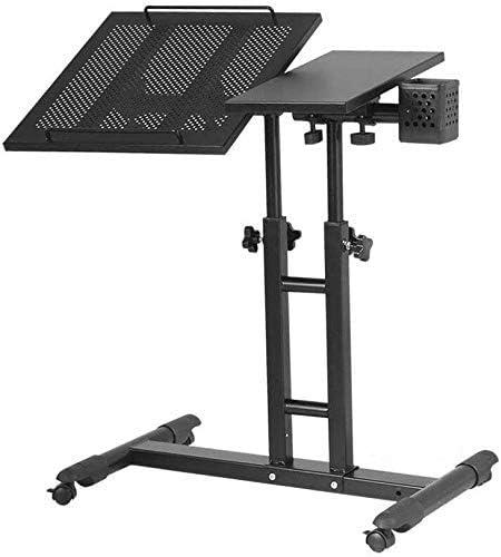 TRYSHA マウスボード高さ調節が360degを持つテーブルデスクポータブルラップトップスタンドデスクカート。スイベルそして、原稿180°;チルトロック可能なキャスター(カラー:4) ラップトップスタンド (Color : 3)