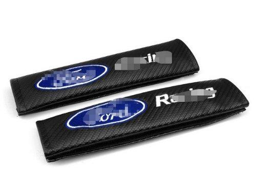 A Pair Car Parts Racing Sport carbon fiber Car Seatbelt Cover Shoulder Pad Pads Fit For A S T Thunderbird Mustang Taurus Sable F-150 E350 Explorer