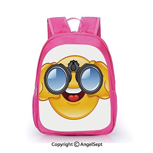 (Hot Sale Backpack Casual Daypack,Smiley Face with a Telescope Binoculars Glasses Watching Outside Cartoon Print Yellow and Blue,15.7inch,Travel Outdoor Backpack For Boys And Girls)