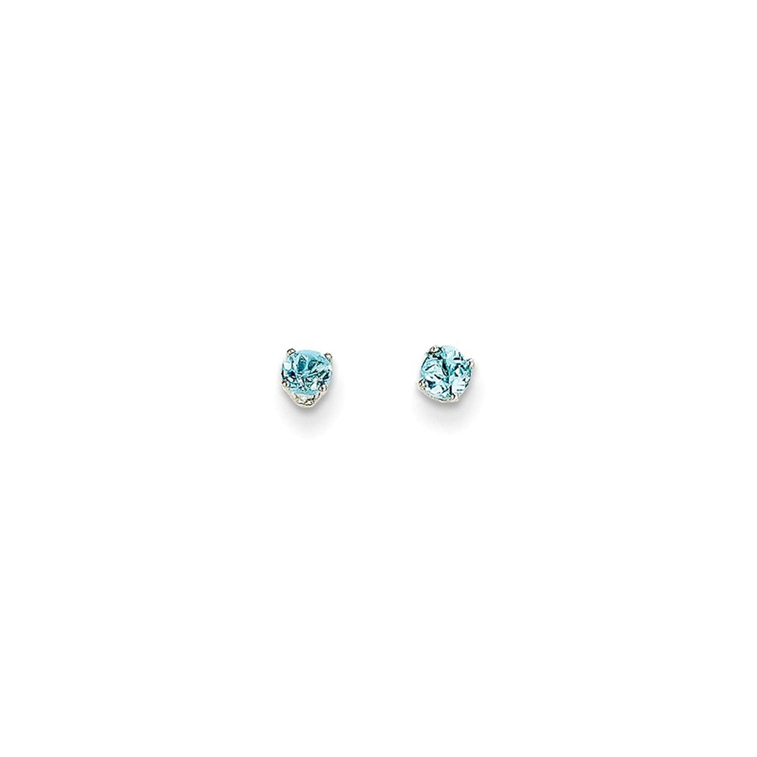 14k White Gold 3mm Blue Topaz Stud Earrings, Gem Ctw.0.3