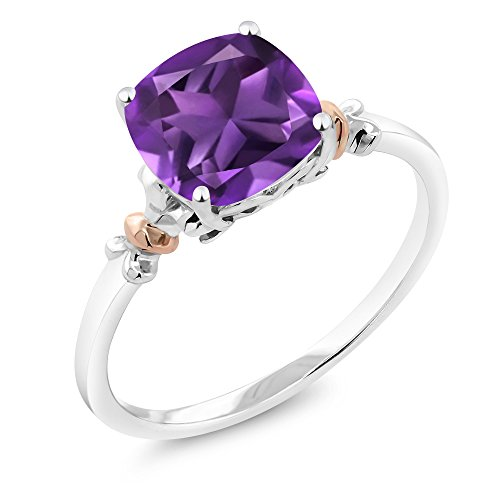 Amethyst Ring Birthstone Genuine (925 Sterling Silver and 10K Rose Gold Cushion Purple Amethyst Gemstone Birthstone Women's Ring 2.05 cttw (Size 7))