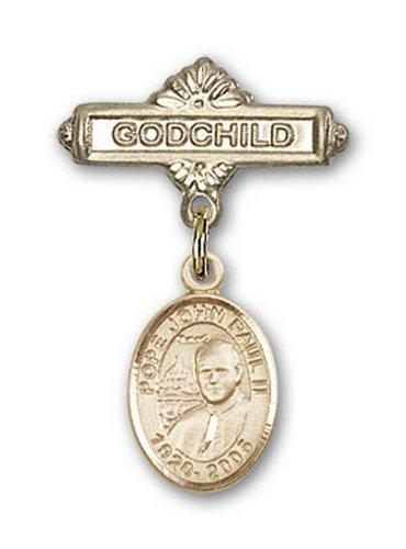 Icecarats Or Bijoux De Créateurs Pape Jean-Paul II Rempli Charme Filleul Broche De Badge 1 X 5/8