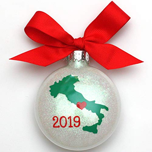 Italy Love White Glitter Handcrafted Christmas Glass Ornament