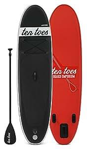 Ten Toes 10' Weekender Inflatable Stand Up Paddle Board Bundle, Black/Red - 2016