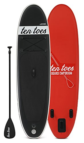 Ten Toes 10' Weekender Inflatable Stand Up Paddle Board Bundle, Black/Red - 2016 (Aluminum Toe Board)