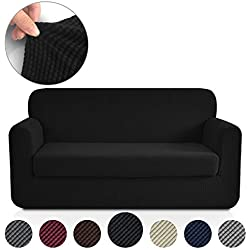 RHF Jacquard Stretch 2-Piece Sofa Cover, 2-Piece Slipcover for Leather Couch-Polyester Spandex Sofa Slipcover&Couch cover for dogs, 2-Piece sofa protector(Loveseat: Black)