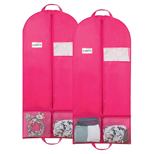"""MASKEYON 51"""" Garment Bags with Zipper Pocket for Dance Costume,Wedding Gown,Suit,Garment Bags for Travel and Storage(Pack of 2, Pink) ..."""
