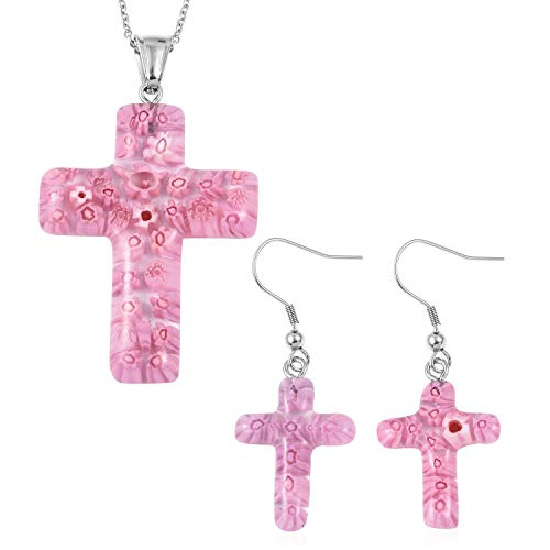 (Shop LC Delivering Joy Stainless Steel Pink Murano Millefiori Glass Cross Earrings Pendant Necklace Set for Women 20