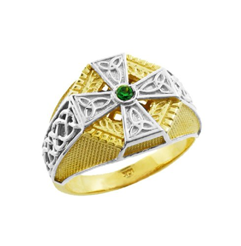Textured 10k Two-Tone Gold Infinity Knot Band Solitaire Celtic Cross Ring for Men