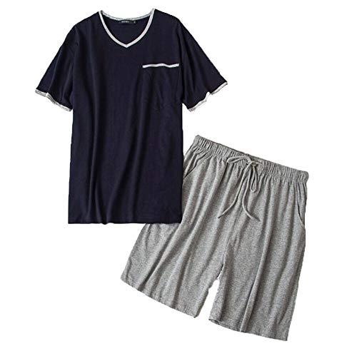 (PNAEONG Men's Cotton Woven Short Sleeve Pajama Set Short Sleepwear SY290-Navy+Gray-XL)