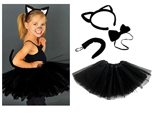 ad7102dcf760 Lizzy Kids Angel Fairy Feather Wings Halo Fancy Dress Costume Cat Leopard  Outfit Party Kids Witches Black Cat Costume(Ears Headband + Bow + Tail +  Tutu)