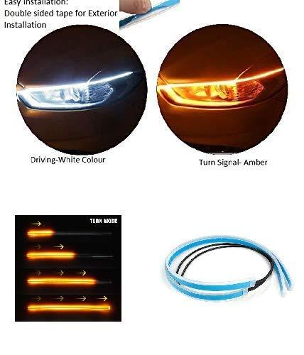 Car-Dec ® Car LED Strip White Daytime Running Light, Turn Signal Yellow/Amber Indicator Light Lamp DRL 12v Left & Right…