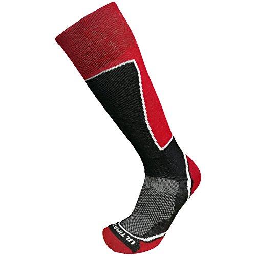 Ultimate Socks Mens Midweight Merino Wool Ski Snowboard Warm Socks Red Large (Ultimate Boot Socks)