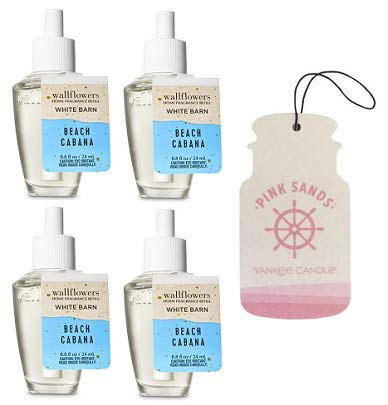 Bath and Body Works 4 Pack Beach Cabana Wallflowers Fragrance Refill. 0.8 fl oz. + Paperboard Car Jar Pink Sands.