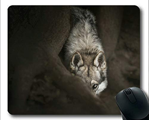 Flying Pig Men Mousemat,Stare Wildlife Predator Wolf Gaming Mouse Pads (Multicolor)