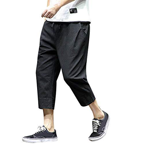 Allywit Men's Loose Fit Elastic Waist Patchwork Shorts Harem Capri Pants Lounge Linen Harem Pants Big and Tall Black by Allywit-Pants (Image #8)